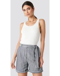 Trendyol Striped Tulum Linen Shorts - Blauw