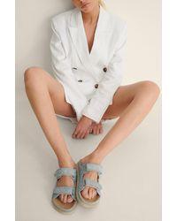 NA-KD Sandalen Met Gequilte Klittenband - Blauw
