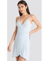 NA-KD - Wrap Mini Dress Blue - Lyst