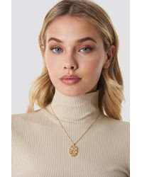 NA-KD - Oval Shaped Coin Necklace Gold - Lyst