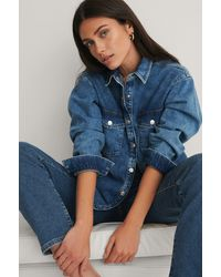 NA-KD Blue Organic Denim Overshirt