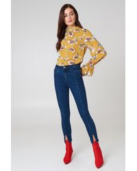 NA-KD - Highwaist Skinny Front Slit Jeans - Lyst
