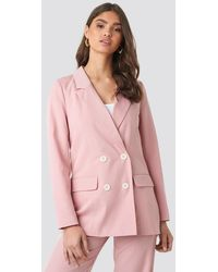 NA-KD Pinstriped Double Breasted Blazer - Rose