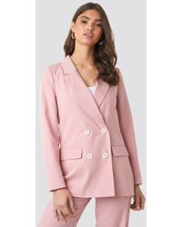 NA-KD - Pinstriped Double Breasted Blazer Pink - Lyst