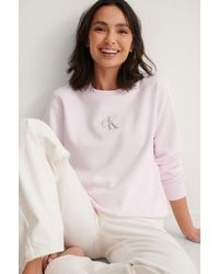 Calvin Klein Pink Monogram Logo Crew Neck