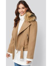 NA-KD Hannalicious x Faux Fur Collar Biker Jacket - Mehrfarbig