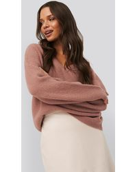 NA-KD Trend V-neck Knitted Sweater - Mehrfarbig