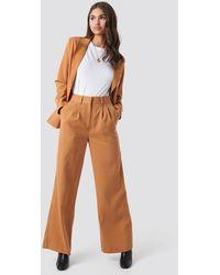 NA-KD High Waist Flared Suit Pants - Marron
