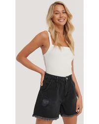 Trendyol Jeanshort Met Ruwe Zoom - Zwart