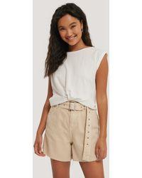Mango Beige Soft Shorts - Natural