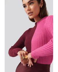 Trendyol Colorblock Knitted Sweater - Roze