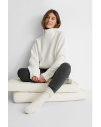 NA-KD White High Neck Knitted Sweater