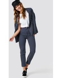 NA-KD Navy Striped Suit Pants - Blauw