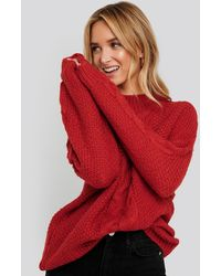NA-KD Oversized Cable Knitted Sweater - Rood