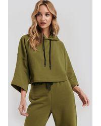 NA-KD Half Sleeve Cropped Hoodie - Groen