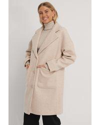 NA-KD Beige Wool Blend Dropped Shoulder Coat - Natural