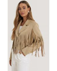NA-KD Beige Fringed Fake Suede Jacket - Natural