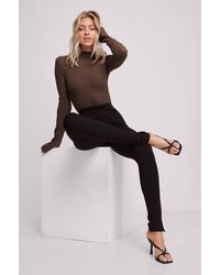 NA-KD - Black Side Slit Pants - Lyst