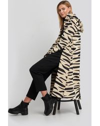 NA-KD Beige Hooded Zebra Parkas - Natural