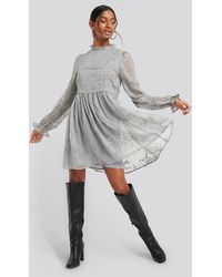 NA-KD - Boho Frill Neck Embroidery Dress - Lyst