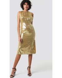 NA-KD Open Side Sequin Midi Dress Gold - Metallic