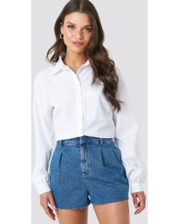NA-KD - Front Pleat Denim Shorts Blue - Lyst