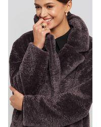 NA-KD Long Teddy Coat - Zwart