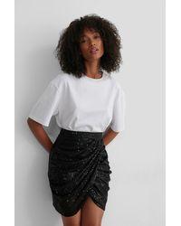 NA-KD Black Draped Sequin Skirt