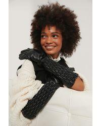 NA-KD Black Quilt Detailed Long Gloves