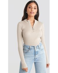 NA-KD - Zip Knitted Sweater - Lyst