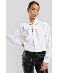 NA-KD - Pussy Bow V-neckline Shirt - Lyst