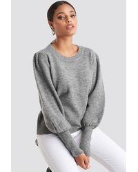 NA-KD Puff Sleeve Wide Rib Knitted Sweater - Grijs
