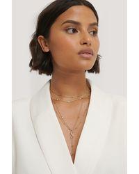 NA-KD Multi Pearl Moon Drop Necklaces - Metallic