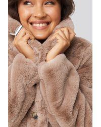 NA-KD Colored Faux Fur Short Coat - Roze