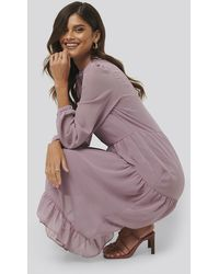 NA-KD Flower Print Tiered Midi Dress - Roze