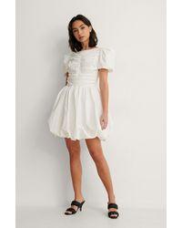 NA-KD White Ruched Puff Sleeve Mini Dress