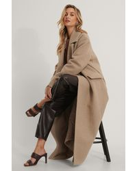 NA-KD Beige Oversized Maxi Coat - Natural