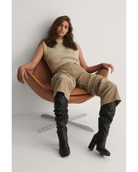 NA-KD Black Slouchy Shaft Squared Toe Boots