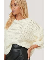NA-KD White Heavy Knitted Short Sleeve Sweater