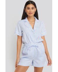 NA-KD Poplin Cotton Night Shorts - Blauw