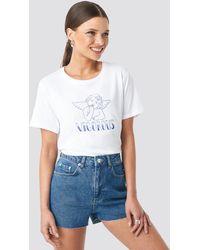 NA-KD Raw Hem High Waist Denim Shorts - Bleu
