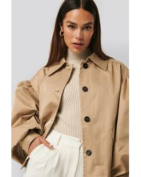 NA-KD Balloon Sleeve Short Jacket - Naturel