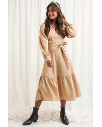 NA-KD Structured Tie Waist Dress - Naturel