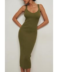 NA-KD Trend Geribde Gebreide Midi-jurk In Bodycon - Groen