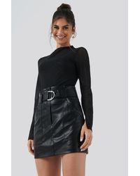 NA-KD Hannalicious x PU Mini Skirt - Schwarz
