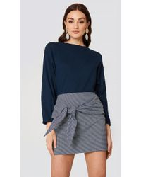 Mango - Knot Checked Skirt - Lyst