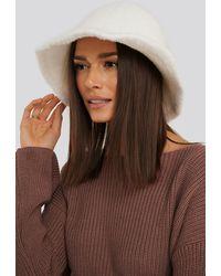 NA-KD Fluffy Bucket Hat - Wit