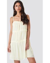 NA-KD Boho Thin Strap Tiered Mini Dress - Geel