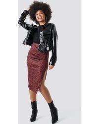 NA-KD Side Split Leopard Print Skirt - Rood