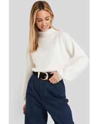 NA-KD - High Neck Big Sleeve Knitted Sweater - Lyst
